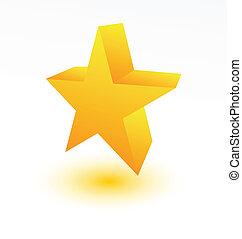 doré, blanc, étoile, 3d