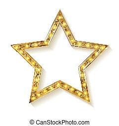 doré, blanc, étoile, fond