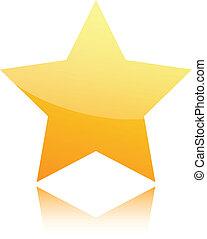 doré, blanc, étoile, isolé