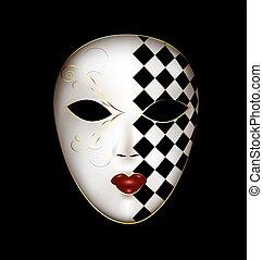 doré, blanc, masque
