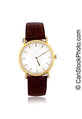 doré, blanc, montres, fond