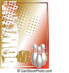 doré, bowling, fond, affiche