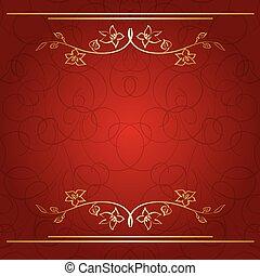 doré, branches, arrière-plan rouge