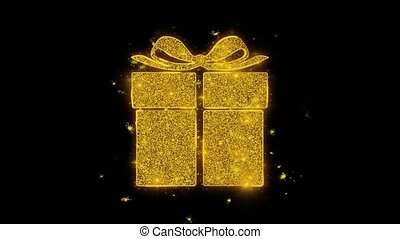 doré, cadeau, étincelles, feux artifice, particules, écrit, anniversaire, heureux