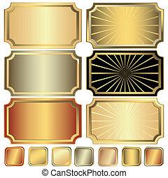 doré, cadre, collection, argenté