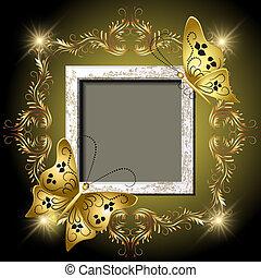 doré, cadre, photo, ornement, papillons, grungy