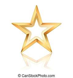 doré, cadre, vecteur, étoile, blanc