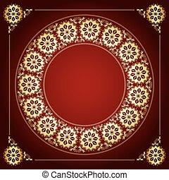 doré, cadre, -, vecteur, fond, floral, rouges