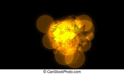 doré, cercle, étoiles, flamme