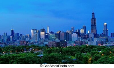doré, chicago, coucher soleil, défaillance, horizon
