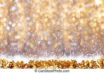 doré, clinquant, or, neige, space., bokeh, fond, copie, brillant