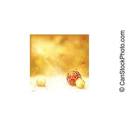 doré, conception, babioles, rouges, noël