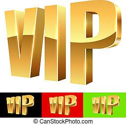 doré, couleur, isolé, abréviation, vip, samples., fond, blanc