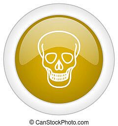 doré, crâne, toile, mobile, app, illustration, bouton, conception, lustré, icône, rond