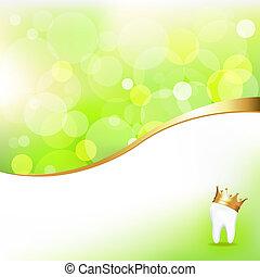 doré, dentaire, couronne, fond, dent