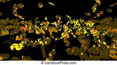 doré, dollar, render, 3d, tomber, symboles, finance, événement, arrière-plan., noir