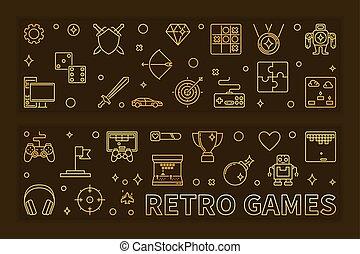 doré, ensemble, contour, illustration, banners., vecteur, jeux, retro