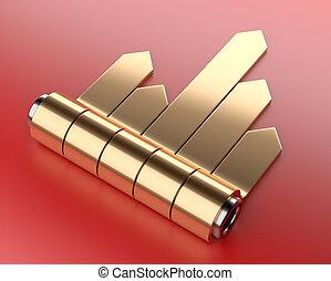 doré, ensemble, diagramme, flèche, cylinder., autocollants, 3d