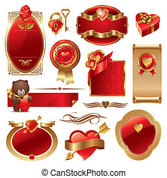 doré, ensemble, &, valentines, vecteur, luxe, orné, cadres, cœurs