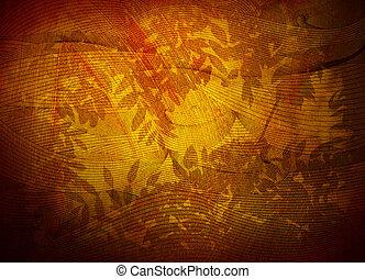 doré, feuillage, papier peint, texture, filigrane, fond, ou