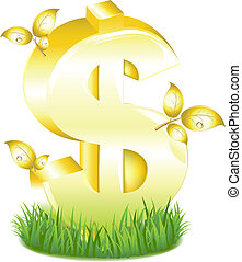 doré, feuilles, herbe, signe dollar