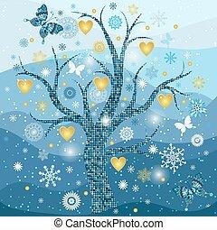 doré, flocons neige, cadre, arbre, cœurs, hiver
