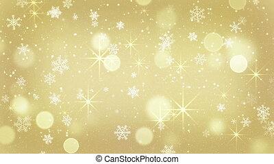 doré, flocons neige, seamless, étoiles, tomber, boucle
