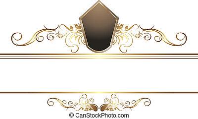 doré, frontière, vendange, élément