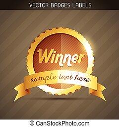 doré, gagnant, étiquette
