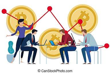 doré, gestion, contrôler, bitcoins, graphique, travail, diagramme, négatif, bas, arrière-plan., croissance, équipe, investissement, price.