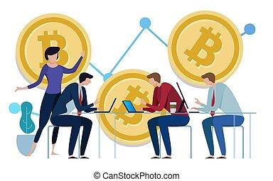 doré, gestion, contrôler, bitcoins, graphique, travail, haut, diagramme, arrière-plan., croissance, équipe, investissement, price.