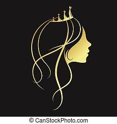 doré, girl, couronne