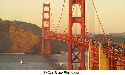 doré, heure pointe, pont, transit, fluxs, trafic, portail, coucher soleil