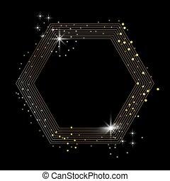 doré, isolé, étincelant, arrière-plan noir, hexagone, scintillement