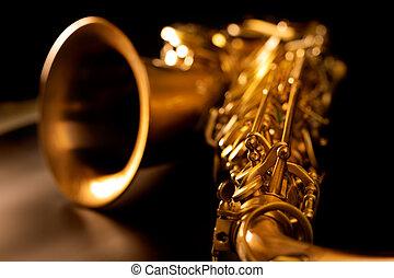 doré, macro, foyer, sélectif, saxophone, sax ténor