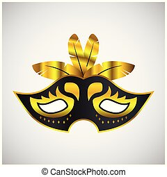 doré, masque carnaval, gris, day., élégant, arrière-plan noir, brésilien, heureux