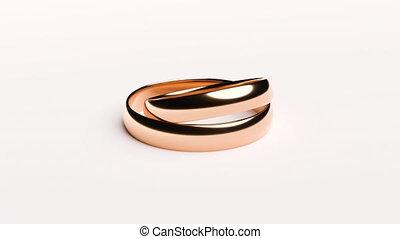 doré, mensonge, anneaux, mariage, surface blanche, tourner, fond