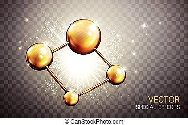 doré, modèle, atome
