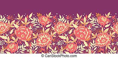 doré, modèle, feuilles, seamless, horizontal, fleurs, frontière