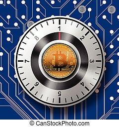 doré, modèle, sûr, bitcoin, arrière-plan., planche, circuit, sécurité