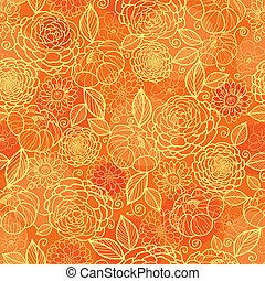 doré, modèle, seamless, texture, arrière-plan orange, floral