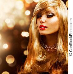 doré, mode, fond, girl., blonds, hair., blond