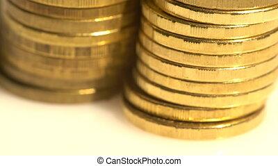 doré, monnaie, closeup, tas