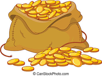 doré, monnaie, entiers, sac