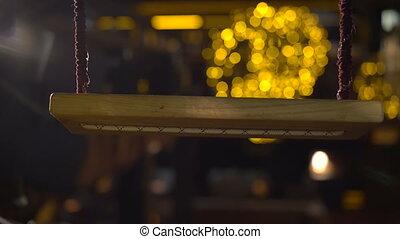 doré, mouvement, balançoire, fond, lumières