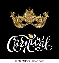 doré, noir, masque carnaval, arrière-plan.