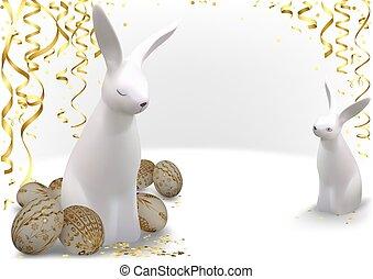 doré, oeufs, lapins, paques, blanc