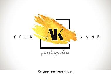 doré, or, ak, créatif, coup, conception, brosse, lettre, logo