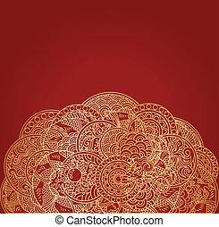 doré, ornement, dragon, asiatique, fond, rouges