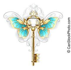 doré, papillon, ailes, clã©